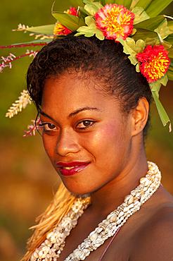 Frances Jawesini, dance performer at Shangri-La Resort, Coral Coast, Viti Levu Island, Fiji.