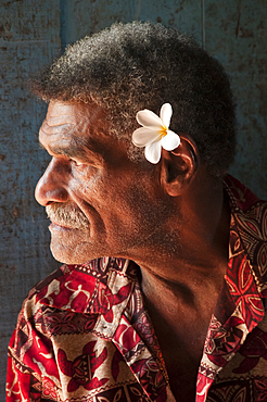 Fijian man in Naveyago village, Sigatoka River, Viti Levu Island, Fiji.
