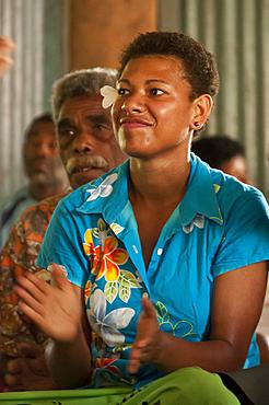 Fijian woman in village of Naveyago on the Sigatoka River, Viti Levu Island, Fiji.