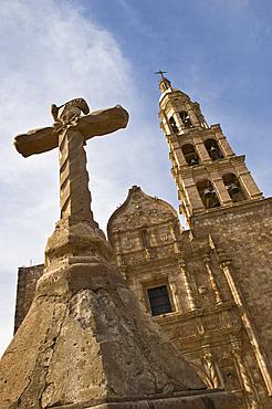 Cross and front of church Nuestra SeÒora del Rosario in the town of El Rosario, just south of Mazatlan, Sinaloa, Mexico.