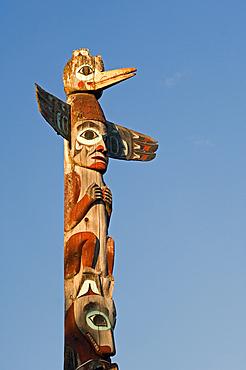 Tlingit totem pole at Saxman Totem Park, Ketchikan, Alaska..