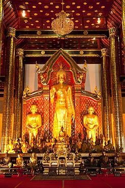 Buddha statues in Wat Chedi Luang Wora Wihan Buddhist temple in Chiang Mai, Thailand.