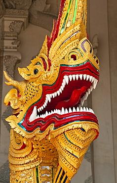 Dragon figure at Wat Chedi Luang Wora Wihan Buddhist temple in Chiang Mai, Thailand.