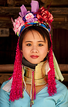 Young woman of the Karen hill tribes at Baan Tong Luang, a village of Hmong people in Chiang Mai Province, Thailand.