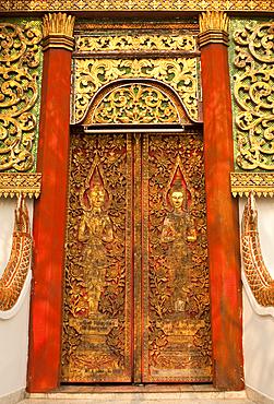 Door at Wat Fon Soi Buddhist temple in Chiang Mai, Thailand.