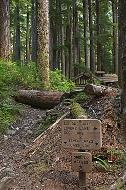 Trailhead signs for Sol Duc River-High Divide-Seven Lakes Basin-Deer Lake Trail, Olympic National Park, Washington.