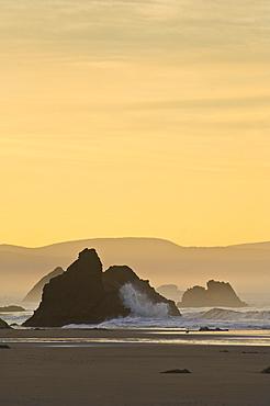 Sunrise at Harris Beach State Park, southern Oregon coast.
