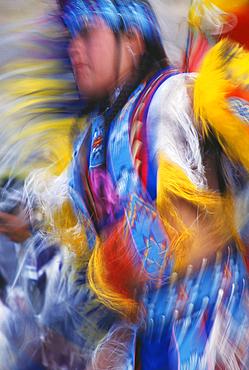Native American dancer in Fancy Dance regalia at Pi-Ume-Sha Treaty Days Pow Wow, Warm Springs Indian Reservation, Oregon.