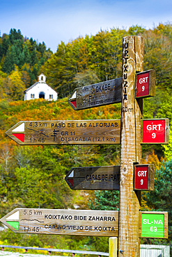 Virgen de las Nieves shrine and route signals. Irati Forest. Navarre, Spain Europe