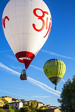 Hot-air balloons. Navarre, Spain, Europe
