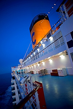 Cruise ship at sunset in the Mediterranean
