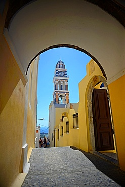 Tower of the Cathedral of Saint John the Baptist in Fira, Santorini, Greek Islands, Greece