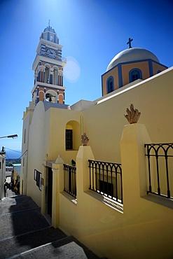 Cathedral of Saint John the Baptist in Fira, Santorini, Greek Islands, Greece