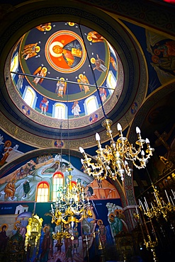 Interior of Greek Orthodox Church Panagia of Platsiani in Oia Main Square, also known as Nicolaou Nomikou Square, Santorini.