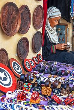 Afrikable Fair trade shop souvenirs selling in Lamu town in Lamu Island, Kenya.