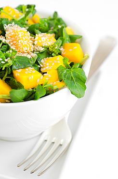 watercress salad with mango