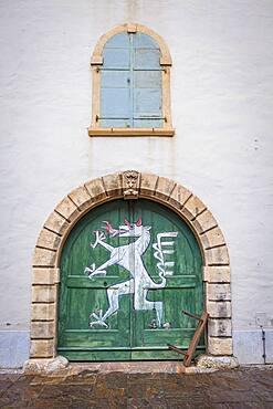 Emblem or mascot of the city. Detail, facade of Landeszeughaus (Armoury or arsenal), from Landhaushof courtyard, Graz, Austria
