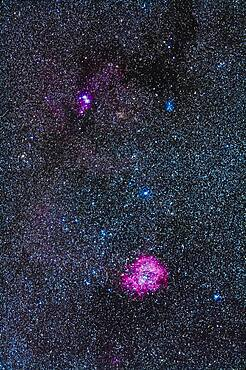 The area of the Rosette Nebula (bottom) and Christmas Tree Cluster (top) in Monoceros with the Fornax Lightrack tracker and 200mm lens + Canon 5D MkII. The nebulosity at top includes the Cone Nebula.