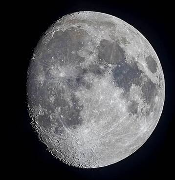 A mosaic of the 11-day-old gibbous Moon, on March 17, 2019, showing the full disk and extent of incredible detail along the terminator, the dividing line between the day and night sides of the Moon where the Sun is rising as seen from the surface of the Moon.
