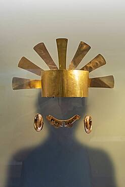 Crowns and helmets were worn by leaders, Pre-Columbian goldwork collection, Gold museum, Museo del Oro, Bogota, Colombia, America