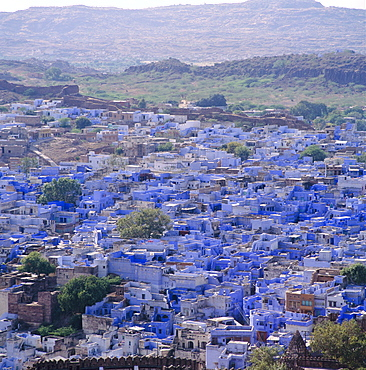 Aerial view from the fort, over the Blue Houses of Jodhpur, built for the Brahmin caste residents, Rajasthan, India
