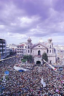 Crowds of pilgrims and devotees, Black Nazarene festival, downtown, Quiapo, Manila, Philippines, Southeast Asia, Asia
