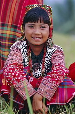 Portrait of a girl from the Kalaban tribe in traditional dress, famous for Eric an ethnic dance (joy and happiness), South Cotabato P. island of  Mindanao, Philippines, Southeast Asia, Asia