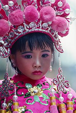 Young actor in parade, Bun Festival, Cheung Chau Island, Hong Kong, China, Asia