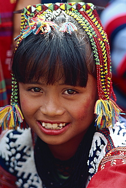 Portrait of a girl of the Kalagan tribe famous for Eric, an ethnic dance of joy and happiness, at Cotabato on Mindanao, Philippines, Southeast Asia, Asia