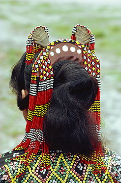 Close-up of head-dress of comb and beads of a woman of the T'boli tribe in southern Mindanao, Philippines, Southeast Asia, Asia