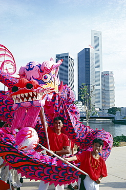 Chinese dragon dancers, Singapore National Day, Singapore, Southeast Asia, Asia