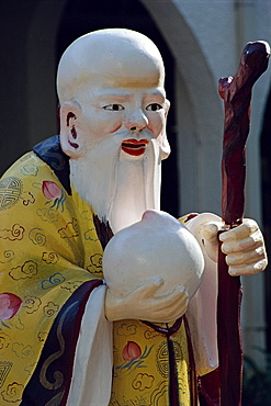 Close-up of a statue of an old Chinese Confucian sage at the Tanglin Shopping Centre in Singapore, Southeast Asia, Asia