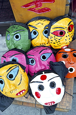 Papier mache masks for sale, East Gate market, Seoul City, South Korea, Asia