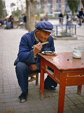 Street restaurant in Dunhuang. Gansu province, China, Asia