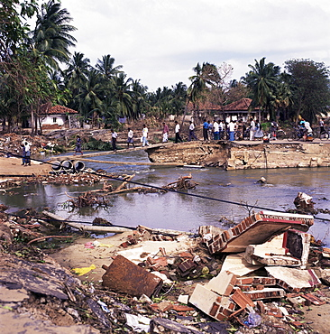 Damage caused by the December 2005 tsunami, Batticaloa, Sri Lanka, Asia