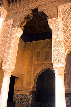 Arches, Ben Youssef Madrassa, Marrakesh, Morocco, North Africa, Africa