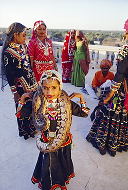 Girl with a python, part of a traditional Kalbalia dance troupe, Rajasthan, India