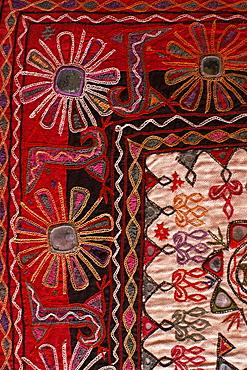 Traditional Rabari tribal embroidered fabrics, Kutch, Gujarat state, India, Asia