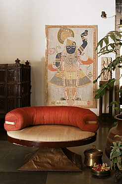 Antique Pichwai, painting on cloth of Lord Krishna, in 1970s concrete structured home, Ahmedabad, Gujarat state, India, Asia