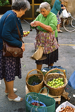 Woman selling figs with an old fashioned balance in the market at Pescia in Tuscany, Italy, Europe