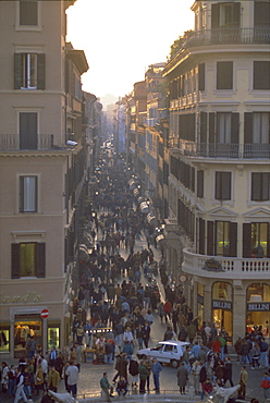 Via Condotti from the Spanish Steps, Rome, Lazio, Italy, Europe