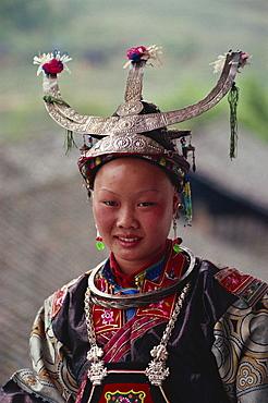 White collared Miao Dandu style of dress, China, Asia
