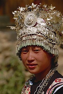 Silver headdress worn by Miao girls, Fanpai, Guizhou, China, Asia