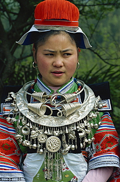 Gejia in festival costume with silver jewellery, Guizhou, China, Asia