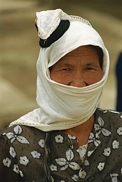 Traditional head dress of Uyghurs, Minpeng, Xinjiang, China, Asia