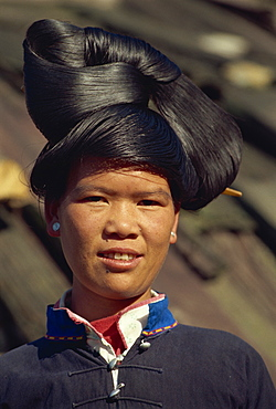 Miao girl's hairstyle, Guizhou Province, China, Asia