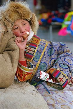 Tibetan girl, Labrang monastery, Gansu Province, China, Asia