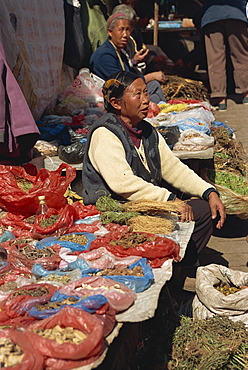 Miao woman selling herbal medicines at market, Guizhou, China, Asia