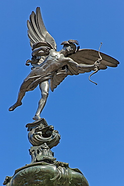 Winged statue of Eros, the Shaftesbury Memorial, first statue cast in aluminium, Piccadilly Circus, London, England, United Kingdom, Europe