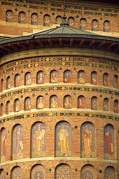 Painted alcoves and recently restored brickwork of Nicolae Domnesc at Iasi, Romania, Europe